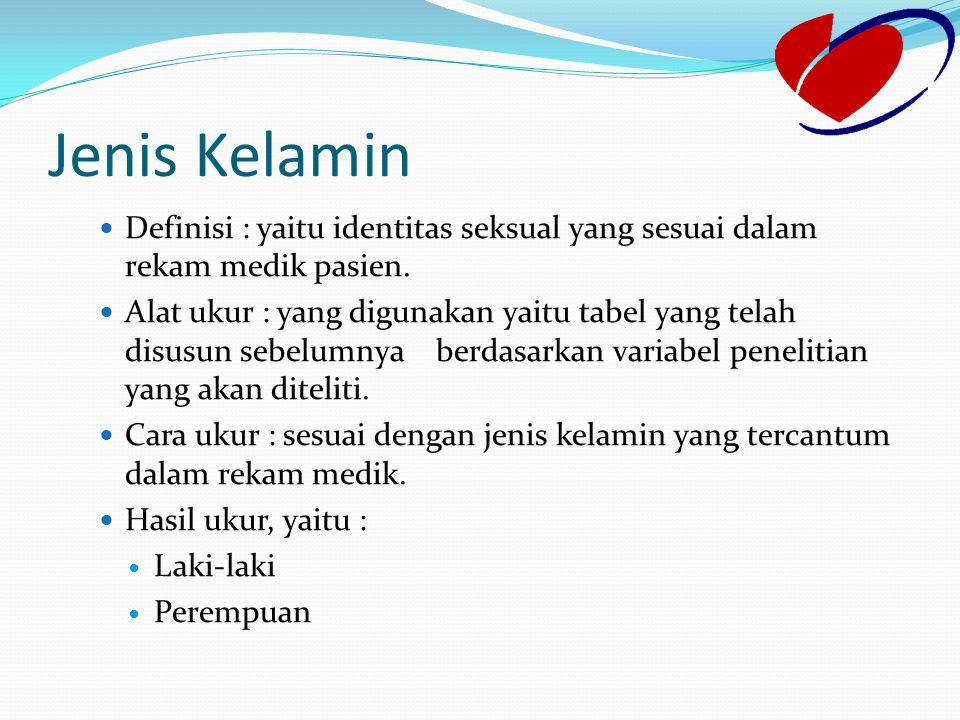 Jenis Kelamin Definisi : yaitu identitas seksual yang sesuai dalam rekam medik pasien.