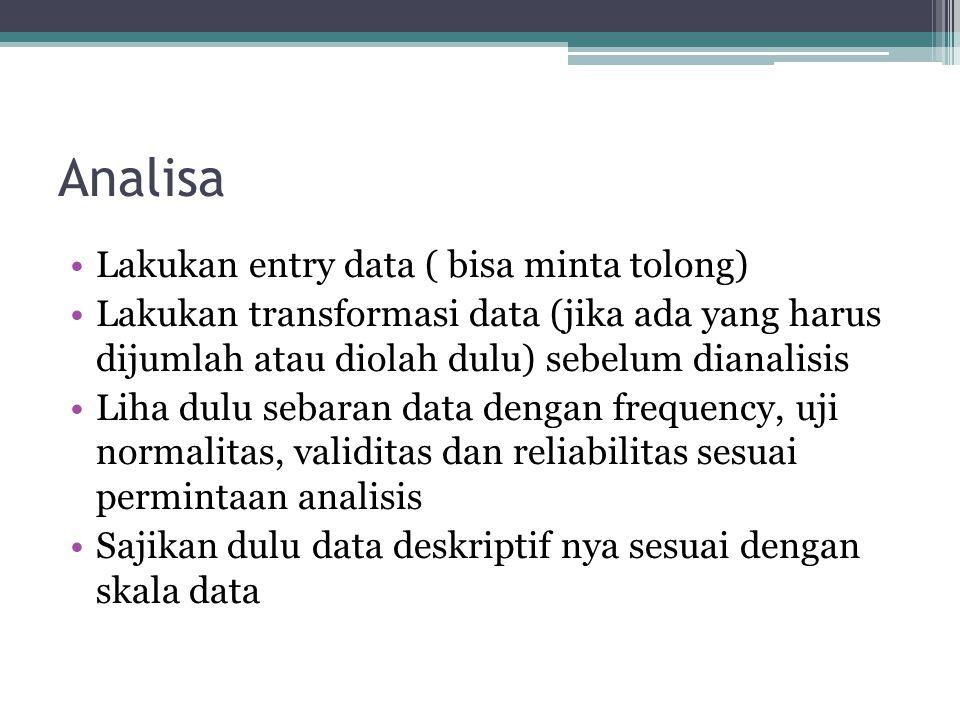 Analisa Lakukan entry data ( bisa minta tolong)