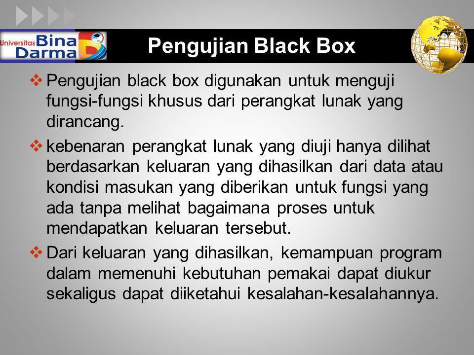 Pengujian Black Box Pengujian black box digunakan untuk menguji fungsi-fungsi khusus dari perangkat lunak yang dirancang.
