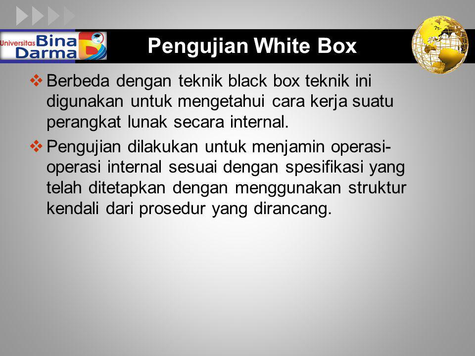 Pengujian White Box Berbeda dengan teknik black box teknik ini digunakan untuk mengetahui cara kerja suatu perangkat lunak secara internal.