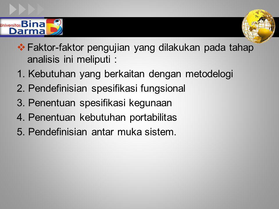 Faktor-faktor pengujian yang dilakukan pada tahap analisis ini meliputi :