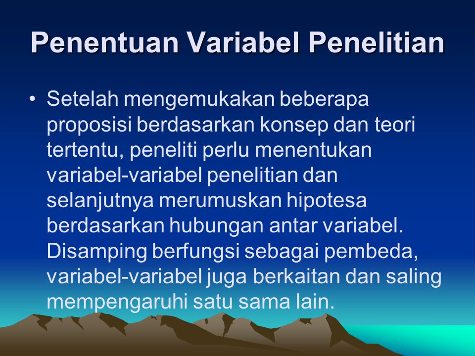 Penentuan Variabel Penelitian