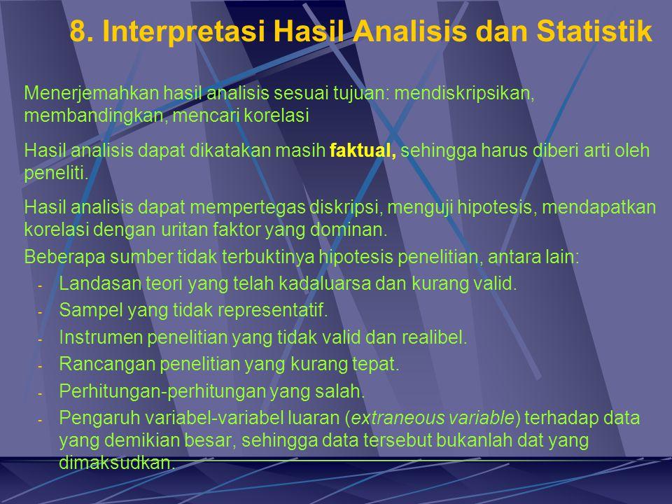 8. Interpretasi Hasil Analisis dan Statistik