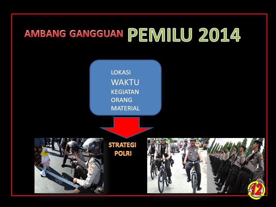 PEMILU 2014 12 AMBANG GANGGUAN WAKTU LOKASI KEGIATAN ORANG MATERIAL