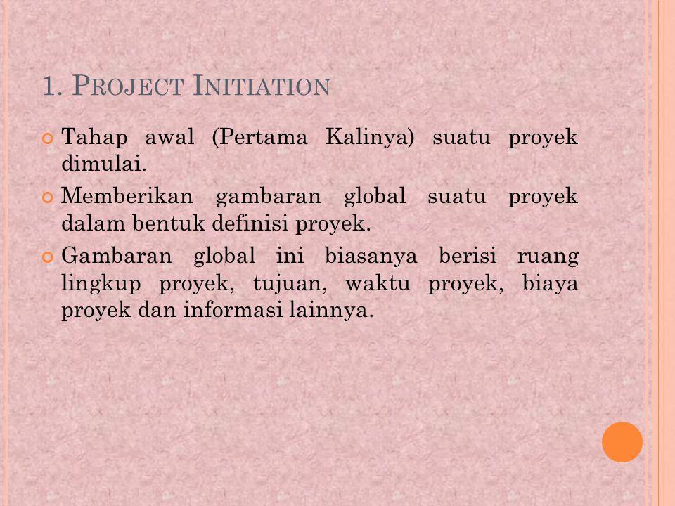 1. Project Initiation Tahap awal (Pertama Kalinya) suatu proyek dimulai. Memberikan gambaran global suatu proyek dalam bentuk definisi proyek.