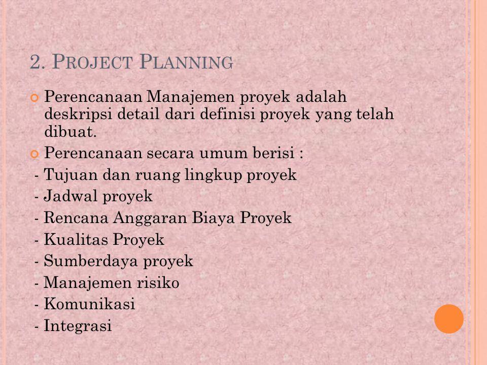 2. Project Planning Perencanaan Manajemen proyek adalah deskripsi detail dari definisi proyek yang telah dibuat.