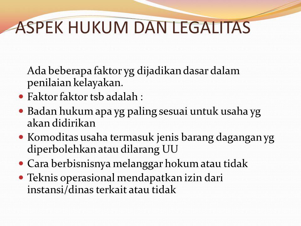 ASPEK HUKUM DAN LEGALITAS