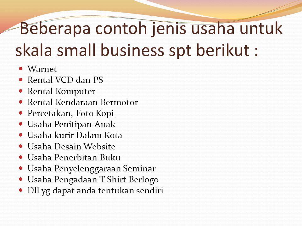 Beberapa contoh jenis usaha untuk skala small business spt berikut :