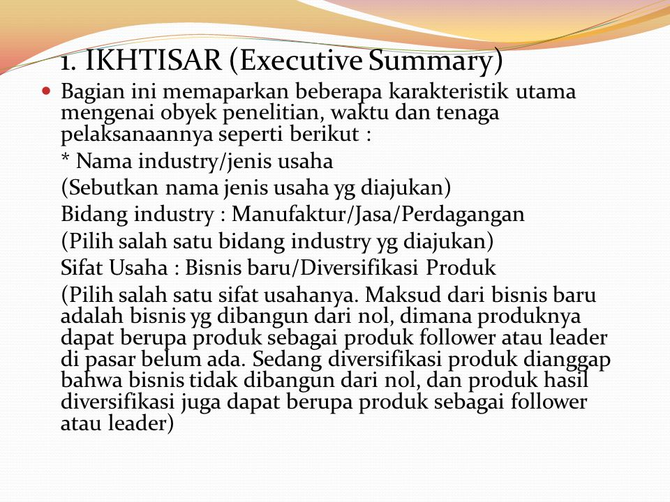 1. IKHTISAR (Executive Summary)
