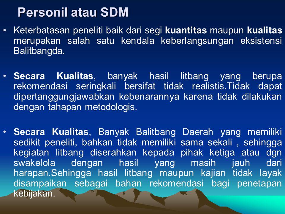 Personil atau SDM Keterbatasan peneliti baik dari segi kuantitas maupun kualitas merupakan salah satu kendala keberlangsungan eksistensi Balitbangda.