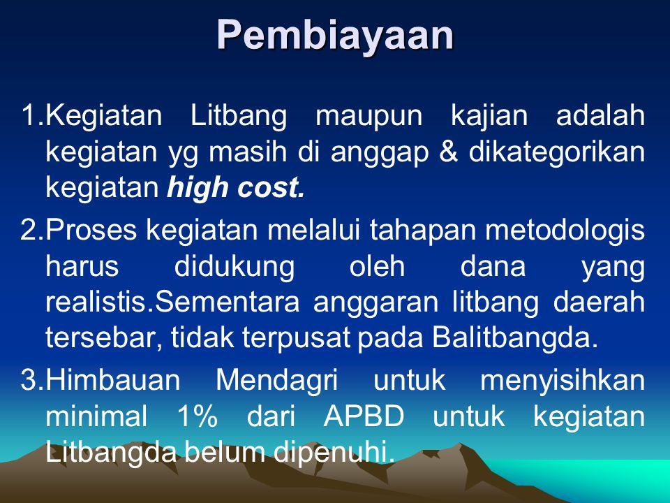 Pembiayaan 1.Kegiatan Litbang maupun kajian adalah kegiatan yg masih di anggap & dikategorikan kegiatan high cost.