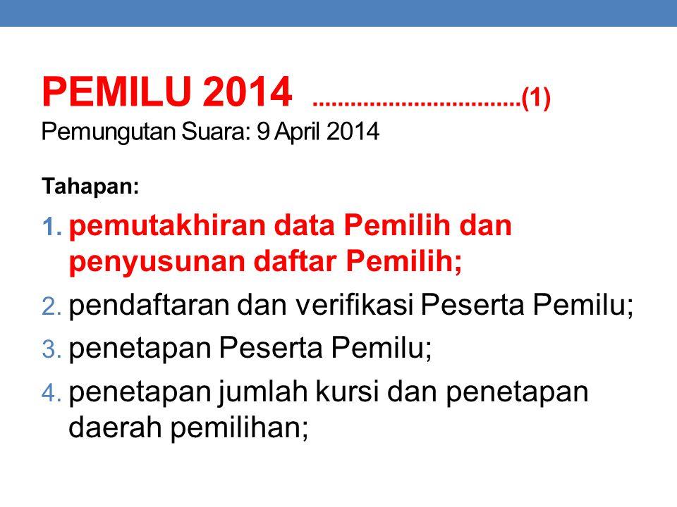 PEMILU 2014 .................................(1) Pemungutan Suara: 9 April 2014