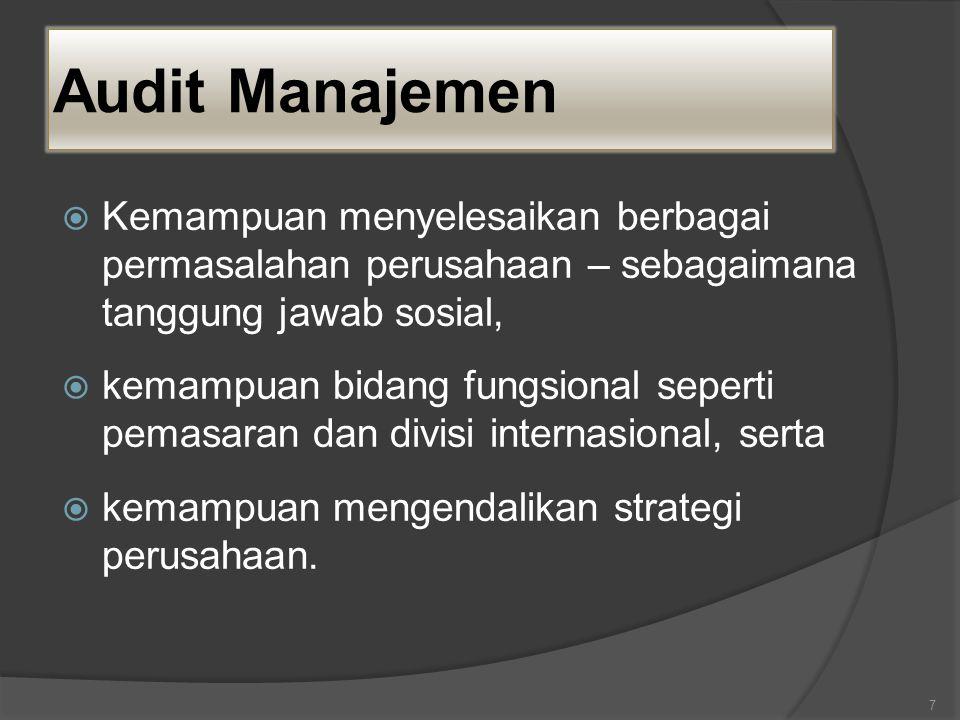 Audit Manajemen Kemampuan menyelesaikan berbagai permasalahan perusahaan – sebagaimana tanggung jawab sosial,