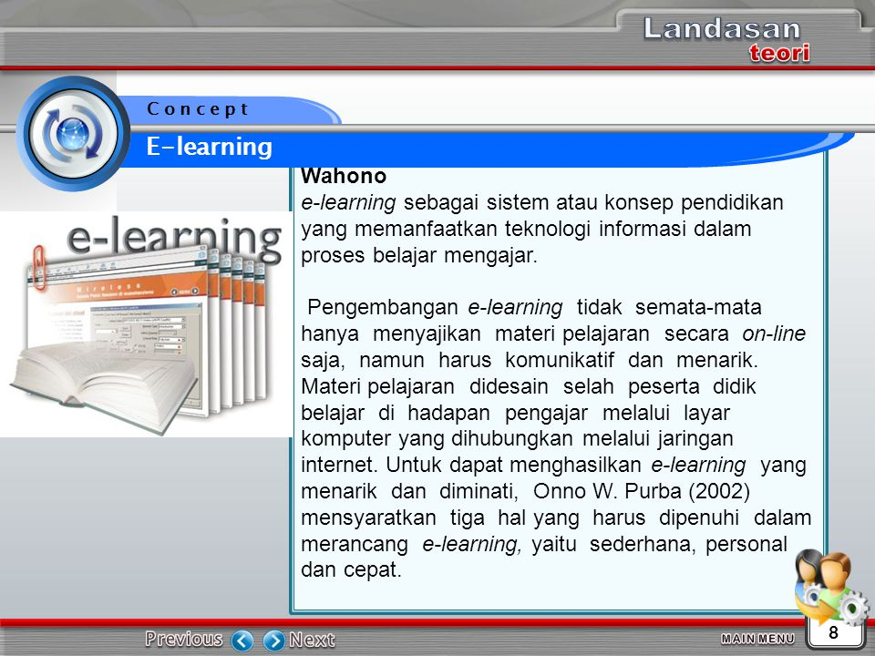 Landasan E-learning teori Wahono