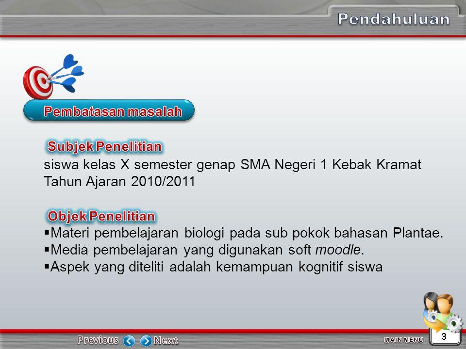 Pendahuluan Pembatasan masalah. siswa kelas X semester genap SMA Negeri 1 Kebak Kramat Tahun Ajaran 2010/2011.