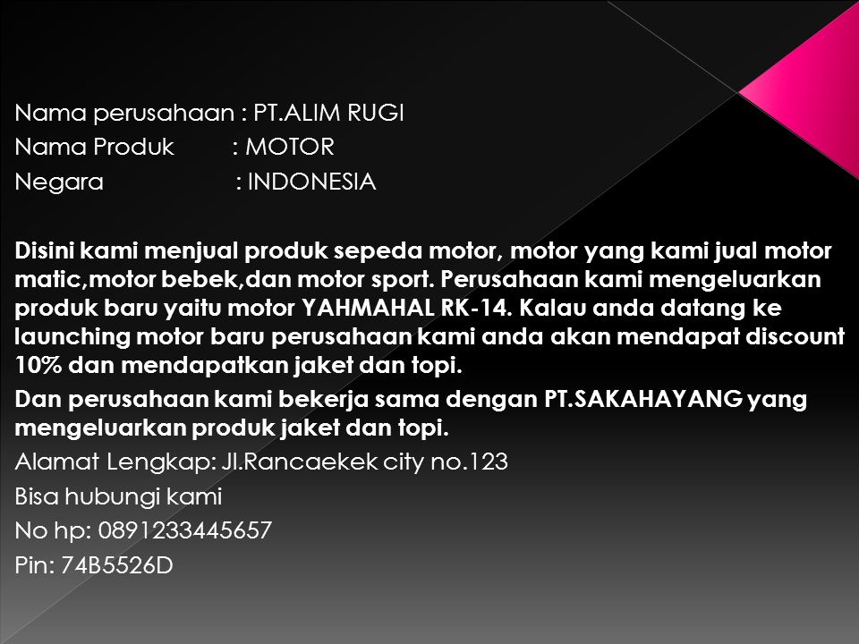 Nama perusahaan : PT.ALIM RUGI