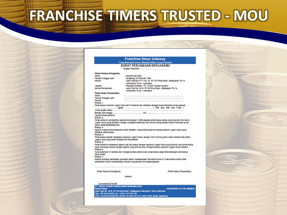 FRANCHISE TIMERS TRUSTED - MOU
