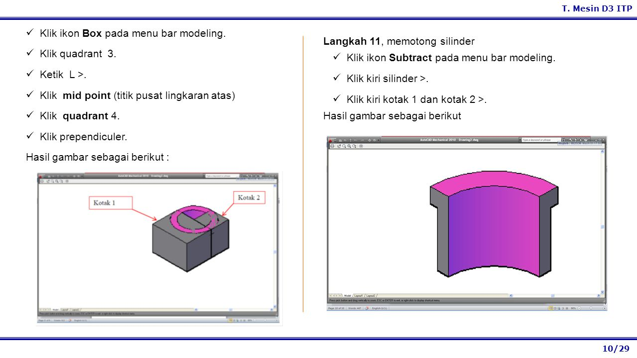 Klik ikon Box pada menu bar modeling.