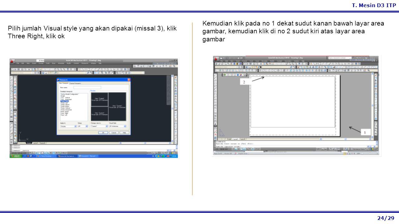 Kemudian klik pada no 1 dekat sudut kanan bawah layar area gambar, kemudian klik di no 2 sudut kiri atas layar area gambar