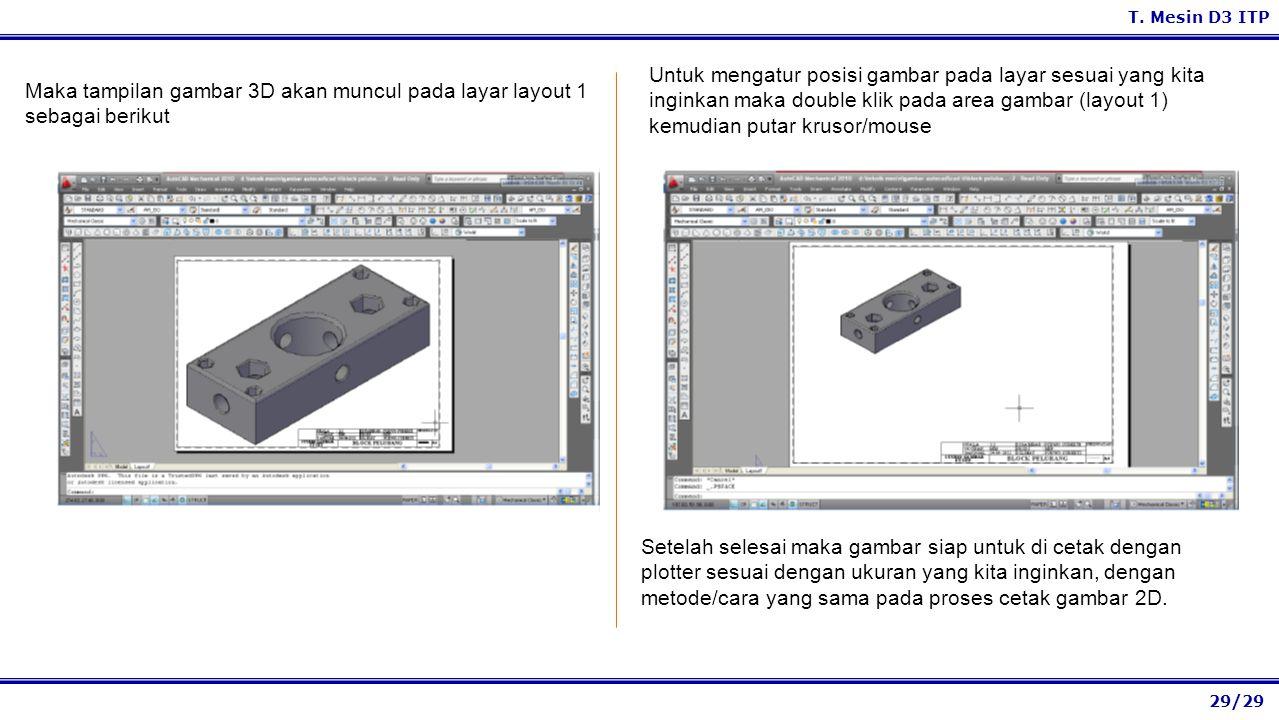 Untuk mengatur posisi gambar pada layar sesuai yang kita inginkan maka double klik pada area gambar (layout 1) kemudian putar krusor/mouse