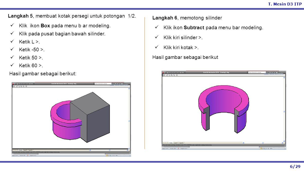 Langkah 5, membuat kotak persegi untuk potongan 1/2.