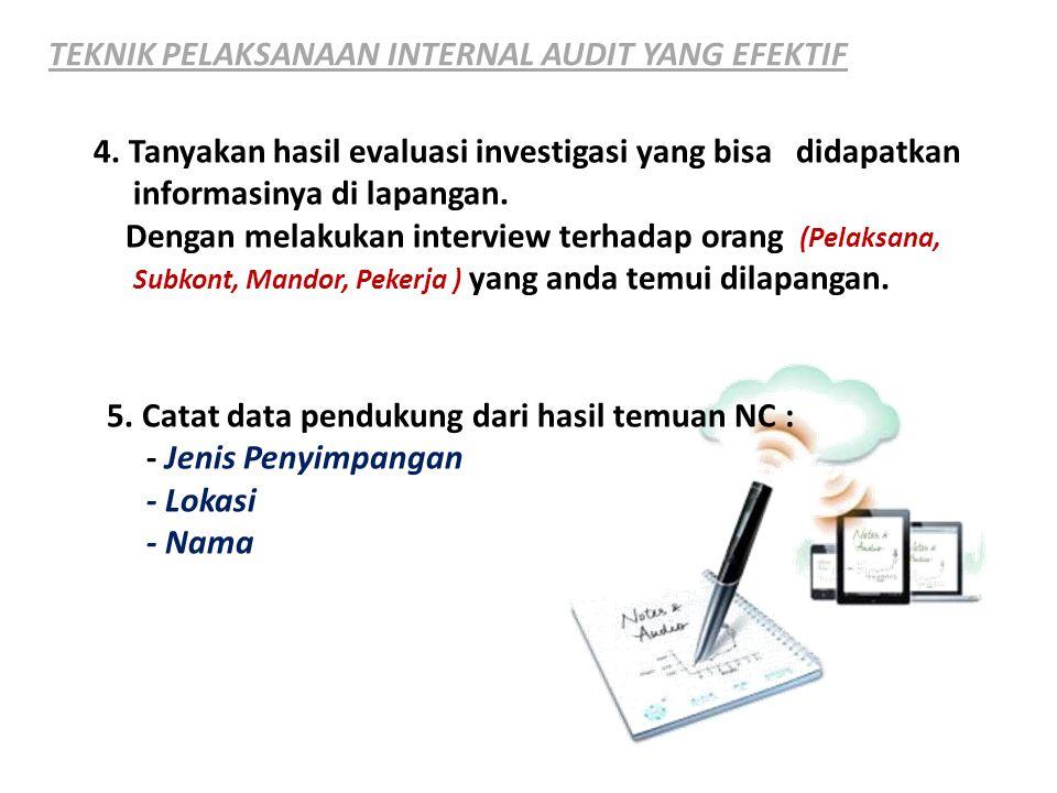 TEKNIK PELAKSANAAN INTERNAL AUDIT YANG EFEKTIF