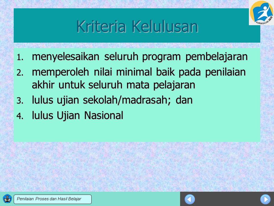 Kriteria Kelulusan menyelesaikan seluruh program pembelajaran