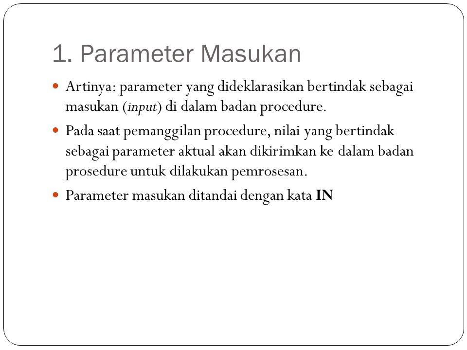 1. Parameter Masukan Artinya: parameter yang dideklarasikan bertindak sebagai masukan (input) di dalam badan procedure.
