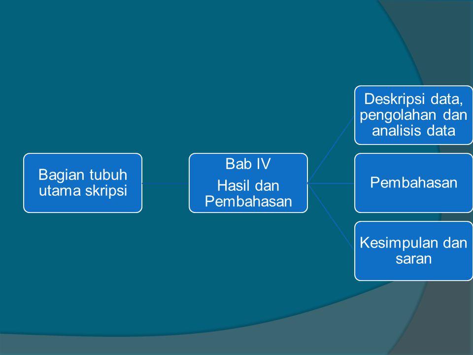 Bagian tubuh utama skripsi Hasil dan Pembahasan Bab IV