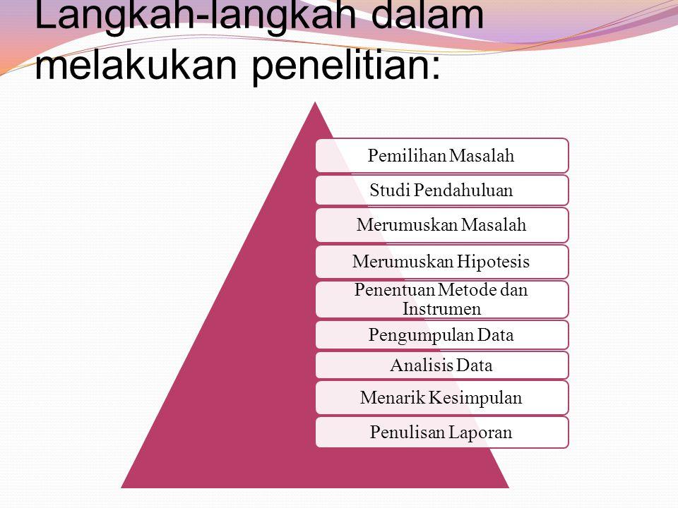 Langkah-langkah dalam melakukan penelitian: