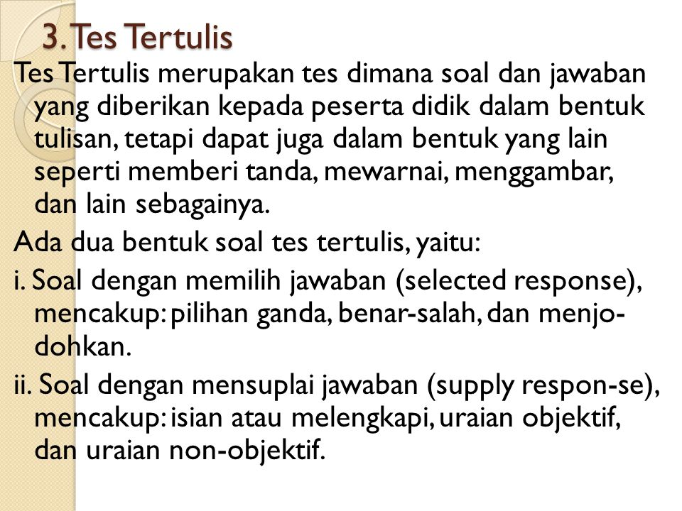3. Tes Tertulis