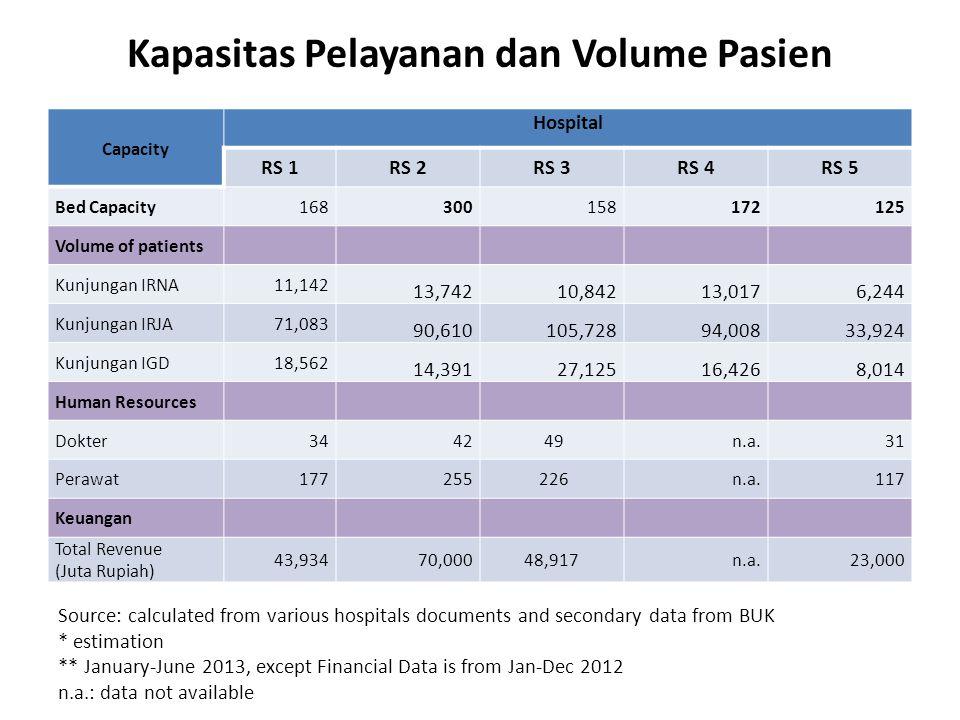 Kapasitas Pelayanan dan Volume Pasien