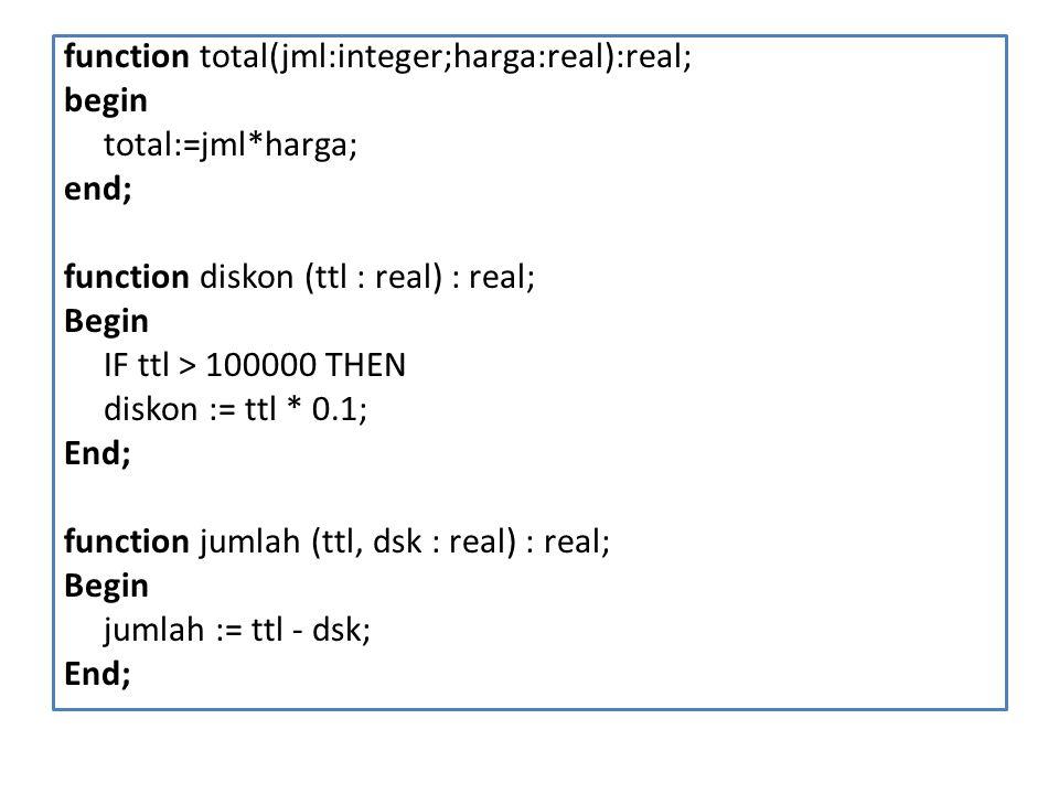 function total(jml:integer;harga:real):real; begin total:=jml