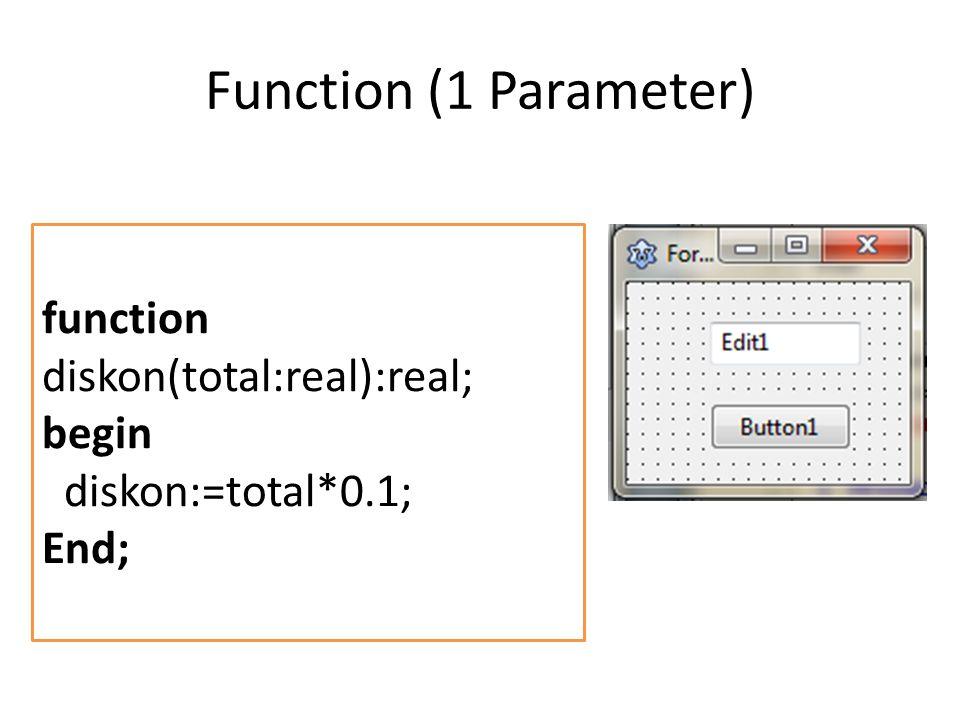 Function (1 Parameter) function diskon(total:real):real; begin