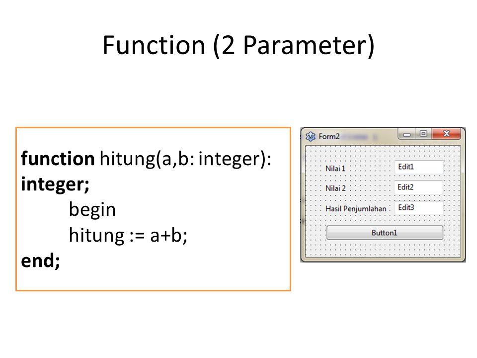 Function (2 Parameter) function hitung(a,b: integer): integer; begin