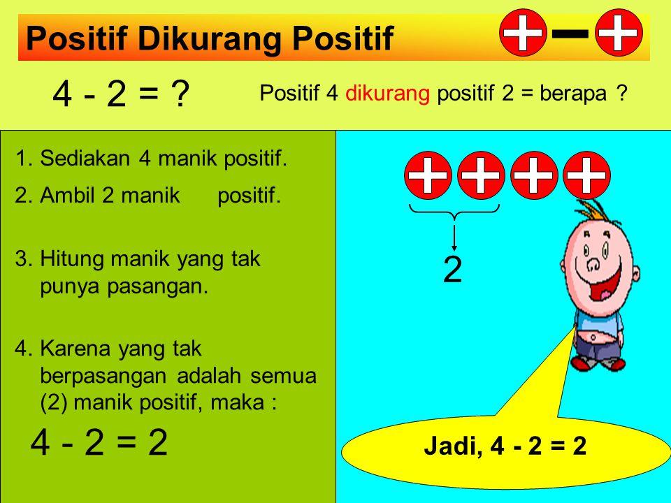 Positif 4 dikurang positif 2 = berapa