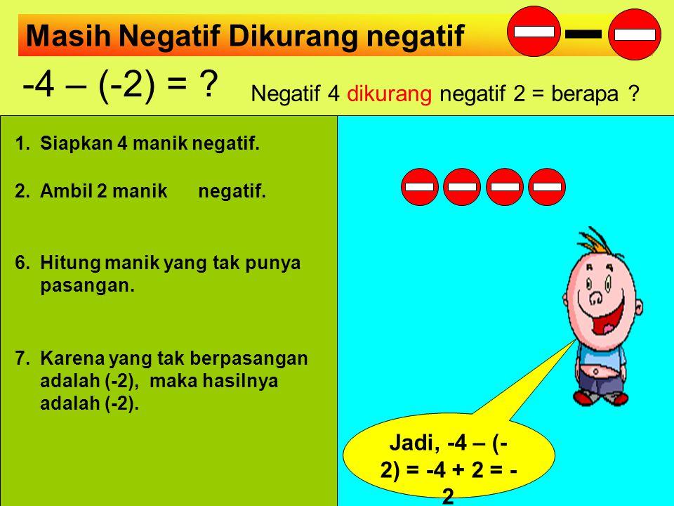 Negatif 4 dikurang negatif 2 = berapa