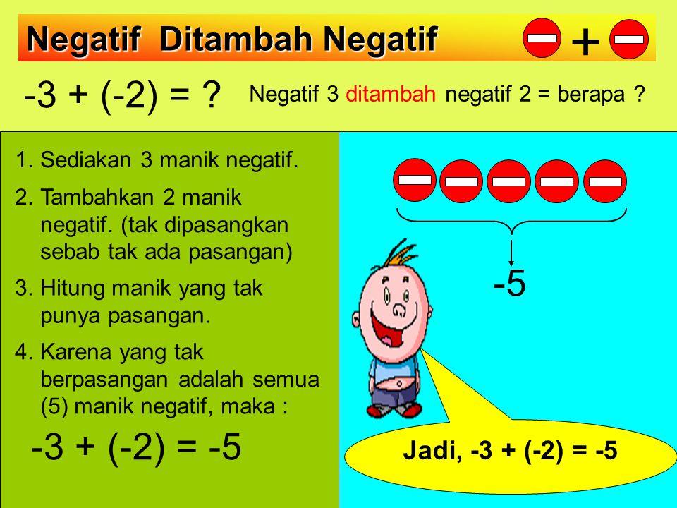 Negatif 3 ditambah negatif 2 = berapa