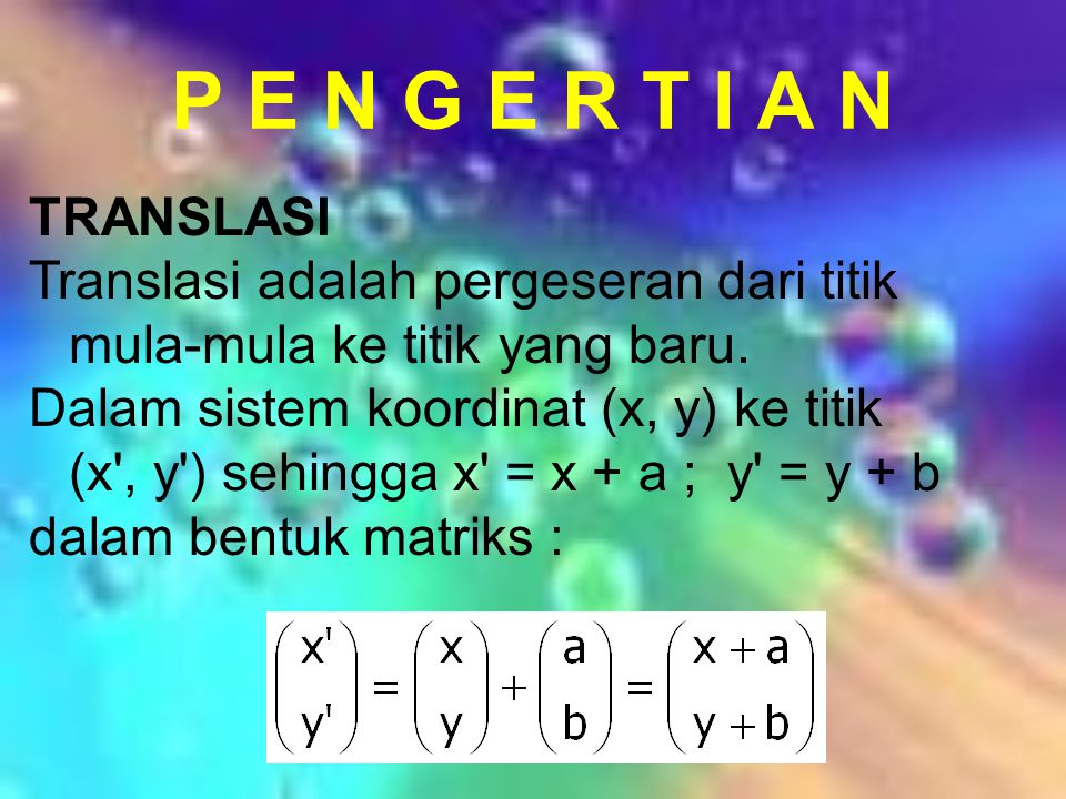 P E N G E R T I A N TRANSLASI. Translasi adalah pergeseran dari titik mula-mula ke titik yang baru.