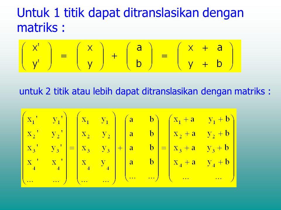 Untuk 1 titik dapat ditranslasikan dengan matriks :