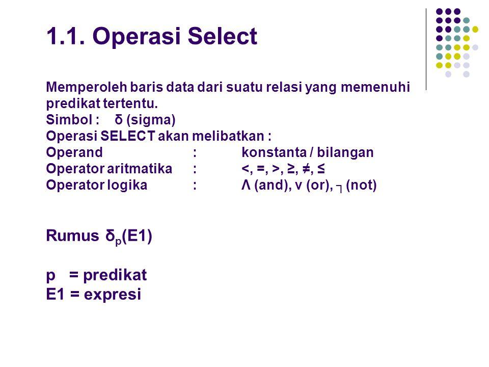 1.1. Operasi Select Memperoleh baris data dari suatu relasi yang memenuhi predikat tertentu.