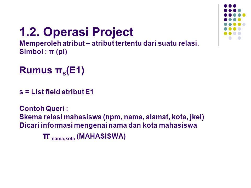 1.2. Operasi Project Memperoleh atribut – atribut tertentu dari suatu relasi.