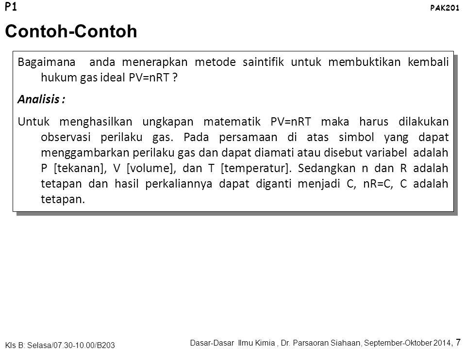 P1 PAK201. Contoh-Contoh. Bagaimana anda menerapkan metode saintifik untuk membuktikan kembali hukum gas ideal PV=nRT