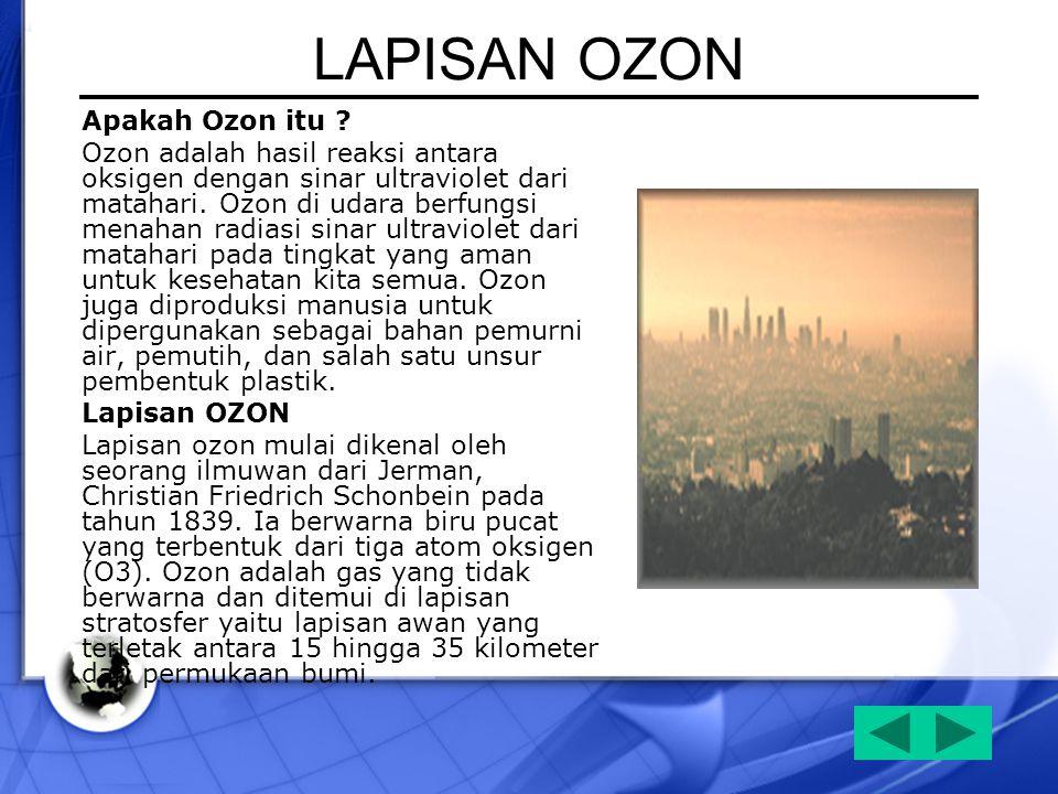 LAPISAN OZON Apakah Ozon itu