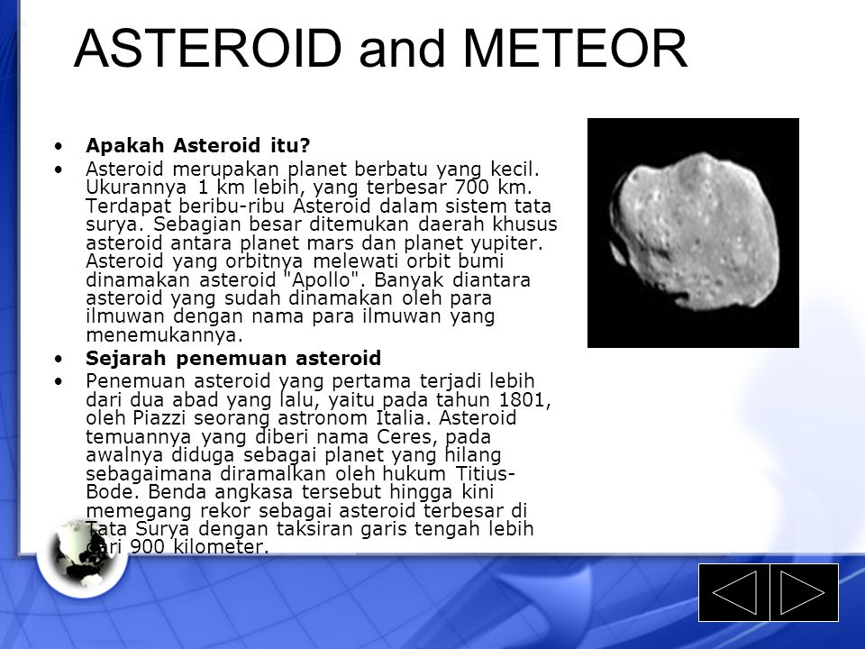 ASTEROID and METEOR Apakah Asteroid itu
