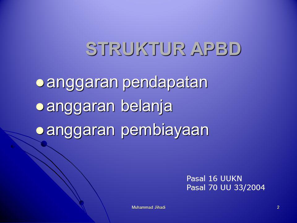 STRUKTUR APBD anggaran pendapatan anggaran belanja anggaran pembiayaan