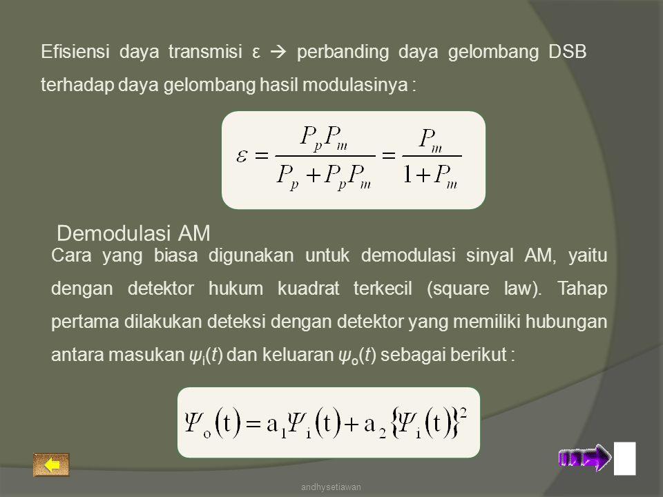 Efisiensi daya transmisi ε  perbanding daya gelombang DSB terhadap daya gelombang hasil modulasinya :