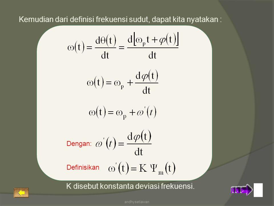 Kemudian dari definisi frekuensi sudut, dapat kita nyatakan :