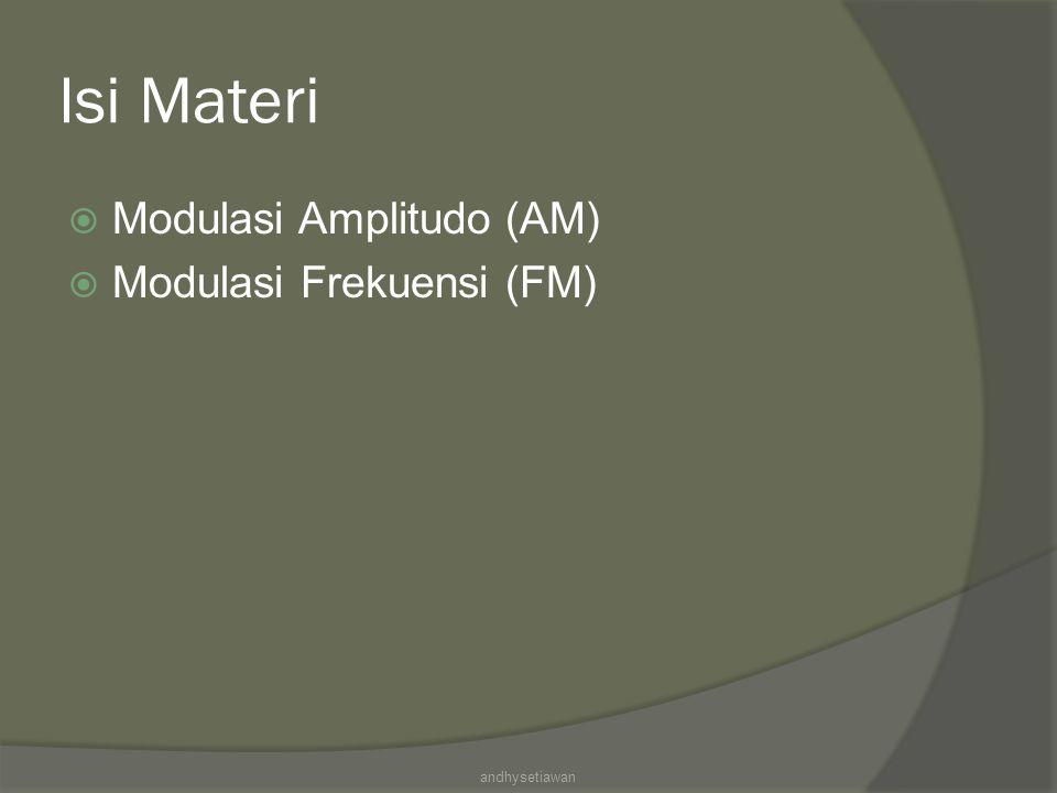 Isi Materi Modulasi Amplitudo (AM) Modulasi Frekuensi (FM)