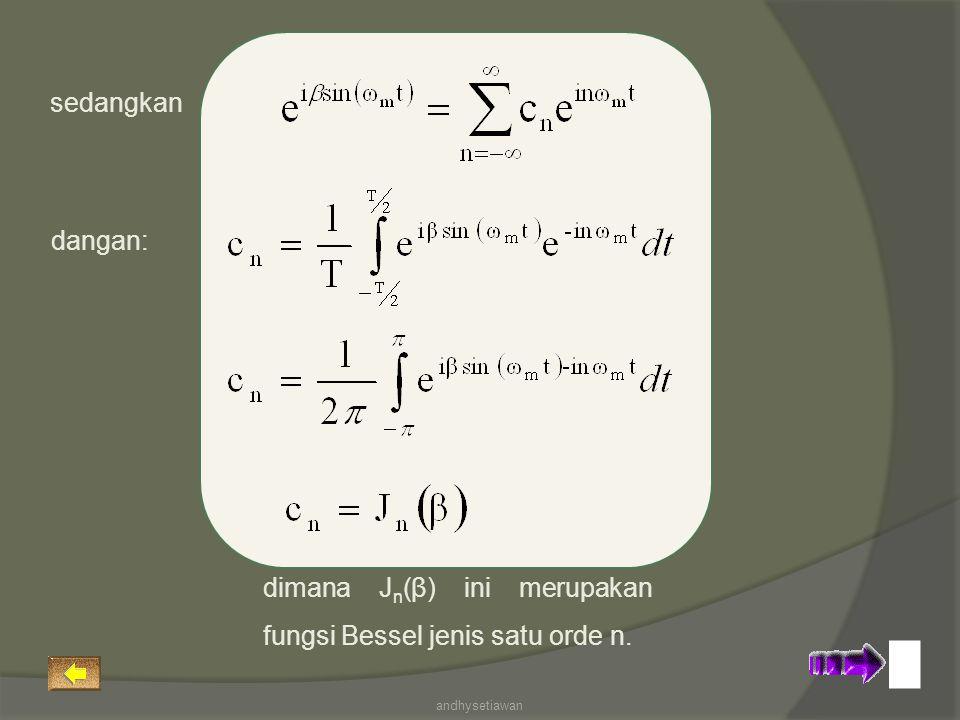 dimana Jn(β) ini merupakan fungsi Bessel jenis satu orde n.